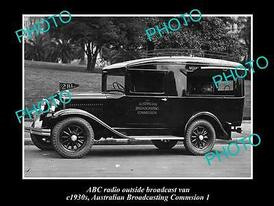 OLD HISTORIC PHOTO OF ABC RADIO VAN, AUSTRALIAN BROADCASTING COMMISION 1930s 1