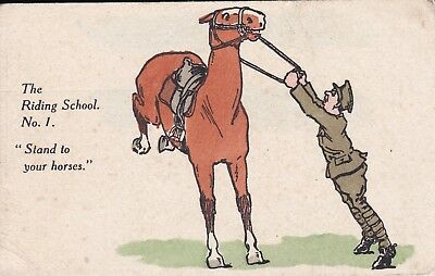 """WW1  """" The Riding School No 1 """"  Stand to your Horses """"  unused card"""