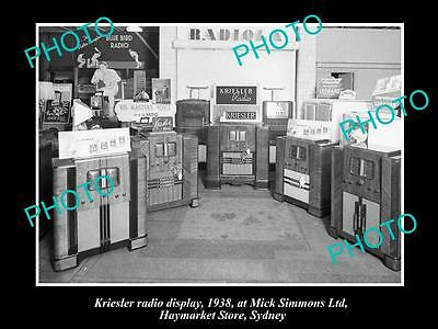 OLD LARGE HISTORIC PHOTO OF THE KRIESLER RADIO SHOP DISPLAY, SYDNEY NSW c1930s 2
