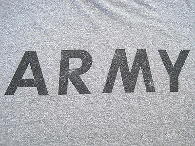 SOFT!! 80S VTG US ARMY grey MILITARY gym T SHIRT usa 50/50 workout LARGE
