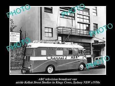 OLD HISTORIC PHOTO OF ABC TV VAN, AUSTRALIAN BROADCASTING COMMISION 1950s