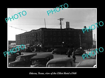 OLD LARGE HISTORIC PHOTO OF ODESSA TEXAS, VIEW OF THE ELLIOTT HOTEL c1940
