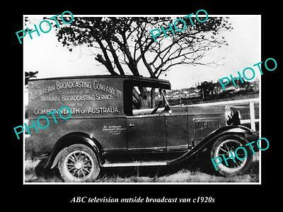 OLD HISTORIC PHOTO OF ABC RADIO VAN, AUSTRALIAN BROADCASTING COMMISION 1920s