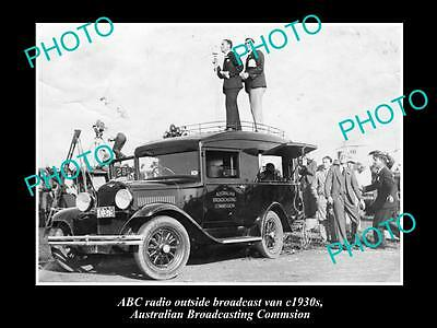 OLD HISTORIC PHOTO OF ABC RADIO VAN, AUSTRALIAN BROADCASTING COMMISION 1930s
