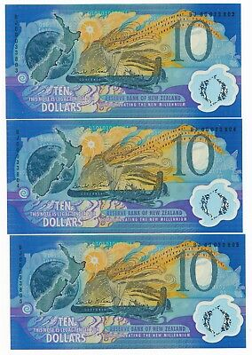 New Zealand $10 Millennium Special Issue Consecutive Trio (3) UNC Notes  P. 190a