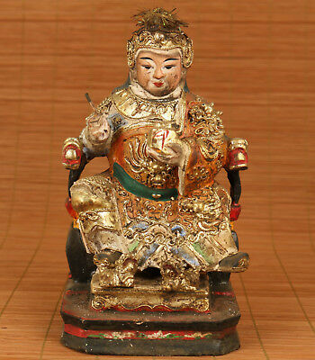 Rare Antique chinese Old Wood hand carving goddess statue figure Collectable