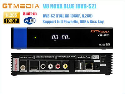 GTMEDIA V8 NOVA Blue DVB-S2 Satellite Receiver,PowerVu,Biss key H.265,Built WiFi