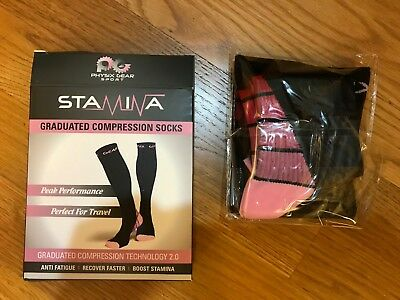 Physix Gear Sport Stamina Compression Socks Pink S/M Women(5.5-8.5) Men(5-9)