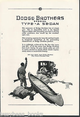 1925 DODGE BROTHERS advertisement, Type-A Sedan, deer, hunter and canoe