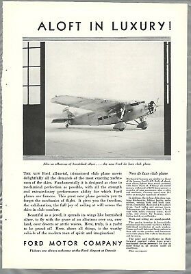 1930 FORD TRI-MOTOR airplane advertisement, Ford De Luxe Club Plane, 5-AT-C