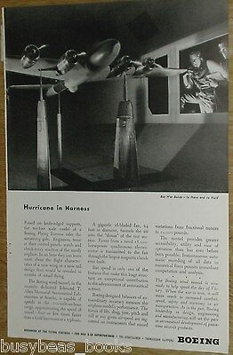 1944 Boeing Aircraft advertisement page, Flying Fortress model in Wind Tunnel