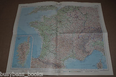 "FRANCE Map, 1955, 19"" x 24"" France plus Switzerland, Belgium Corsica"