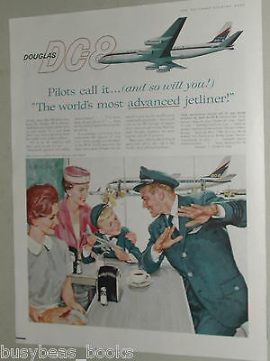 1959 Douglas Aircraft advertisement page, DC-8 Pilot in airport diner