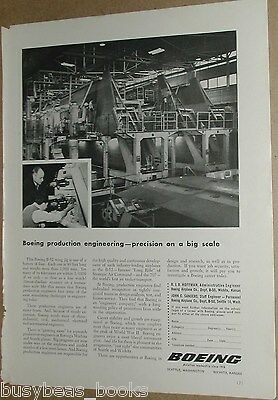 1956 Boeing advertisement, engineer recruitment, B-52 bomber wing assembly