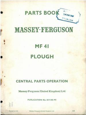 Massey Ferguson MF41 Plough Parts Manual - MF 41