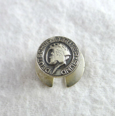 Pin Badge Scherma Fencing Deutcher Fechter Bund Silver Hallmarked 1950C