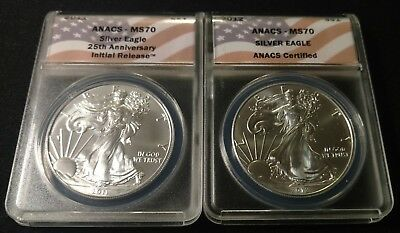 2011 and 2012 American Silver Eagle ANACS MS 70 2-coin set
