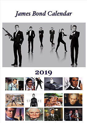 James Bond Autographed Calendar 2019 Portrait A4