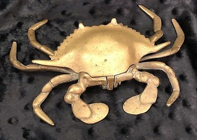 Antique Solid Metal Brass Crab Inkwell