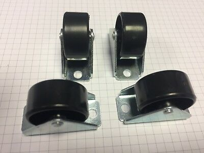 Pack of 4pcs - 25mm Small Fixed castors - Low level caster wheels
