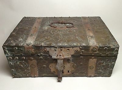 Mid 17th Century Dutch Brass and Iron Bound Repousee Table Casket Writing Box.