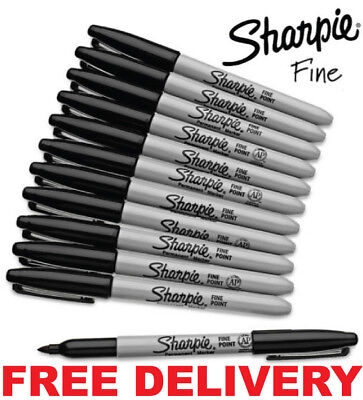 SHARPIE Black FINE Point Bullet Tip Permanent Marker Pens Pack 2,4,6,8,10,12,24