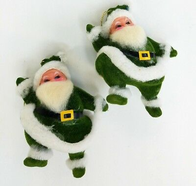 Vtg 2 Dancing Santa Christmas Ornaments Flocked Green Suit Spun Cotton 4""