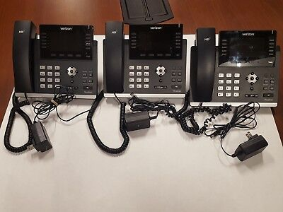 3 Verizon Yealink SIP-T46G Gigabit VoIP Used Phones with Wireless Adapters