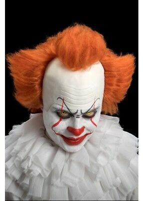 NEW Pennywise Clown Wig Costume Stephen King's It Brown Synthetic Hair Bald Cap
