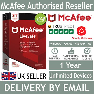 McAfee LiveSafe 2019 Unlimited Multi Devices 1 Year *5 Minute Delivery by Email