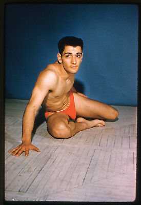# 8 OLD 35mm PHOTO SLIDE UNKNOWN STUDIO NUDE MALE BODYBUILDER MAN PHYSIQUE GAY