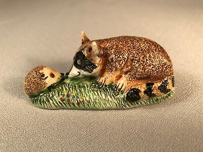 Basil Matthews (England) Hand Sculpted/painted Whimsical Raccoon & Hedgehog