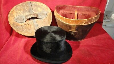 Rare Indian War Era Beaver Fur Top Hat W/ Rare Quality 2 Piece Leather Case