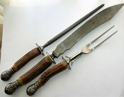 """Landers Frary Clark Aetna Works 3pc Stag Horn Handle Carving Set Silver ends 15"""""""