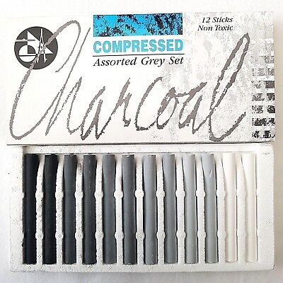 12 Set Jakar Compressed Charcoal Black Grey & White Artist Pastels Sketching Art