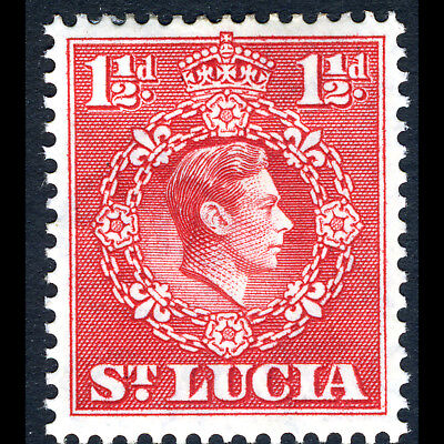 ST LUCIA 1938-48 1.5d Scarlet. P 14.5x14. SG 139. Lightly Hinged Mint. (CA262)
