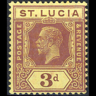 ST LUCIA 1921-30 3d Purple on Pale Yellow. SG 100. Lightly Hinged Mint. (CA260)