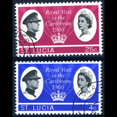 ST LUCIA 1966 Royal Visit. SG 220-221. Fine Used. (CA271)