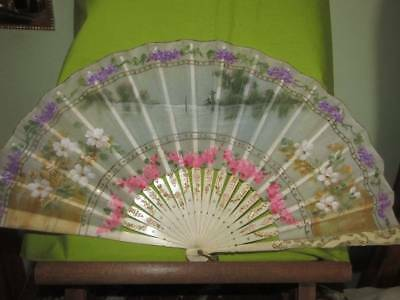 Vintage Chinese Painted Bovine Bone/Celluloid Hand Held Fan