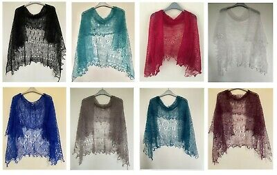 HAND KNITTED WARM GOAT YARN LACE ORENBURG SHAWLS 120cmx120cm MORE COLOURS INSIDE