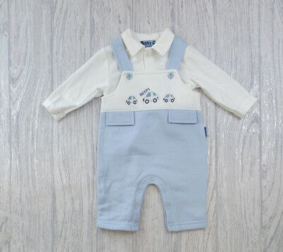 Baby Boy Clothes Dungarees top outfit  Fleece Blue 0-3 m 3-6 m 6-9 months