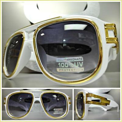 OVERSIZED VINTAGE RETRO LUXURY Style SUN GLASSES Large Wide White /& Gold Frame