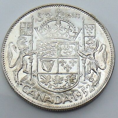 1952 Wide Date WD Lustrous Canada 50 Fifty Cents Half Dollar Canadian Coin G448