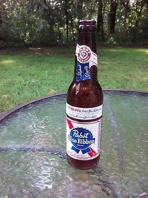 Pabst Blue Ribbon Beer Glass Bottle Vintage 1970s PBR Collectible Mancave Bar