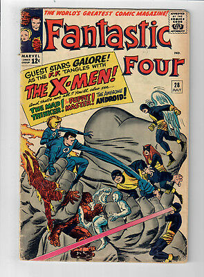 FANTASTIC FOUR #28 - Grade 5.0 - The Uncanny X-Men! Jack Kirby!