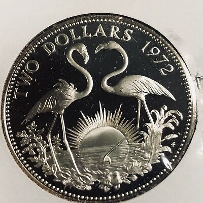 1972 Bahamas Silver Two Dollars Flamingos Proof Brilliant Uncirculated Crown