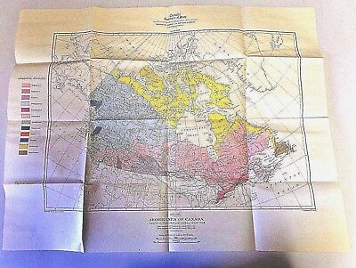 Aborigines of Canada Map Issued 1932 Paper Color Map Tribal Locations