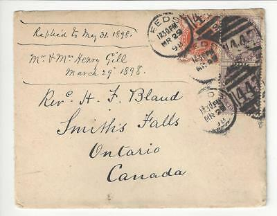 1898 Britain To Canada - 3 Stamps (Missing Top Of Back Flap) (BP53)