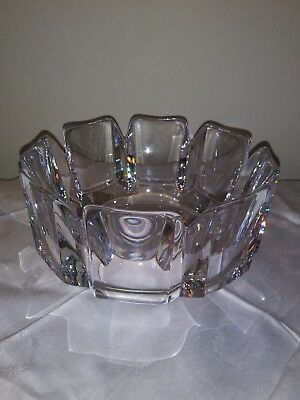 "ORREFORS Sweden Large Lead Crystal Bowl signed. 7.5"" x 4"""