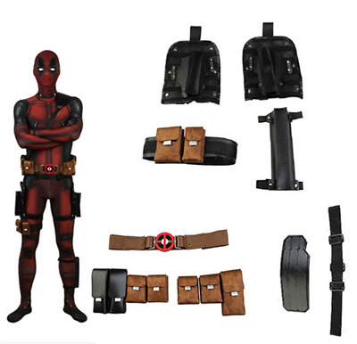 Superhero Deadpool Cosplay Hot Movie Comic Con Party Men Glove Mask Belt Holster